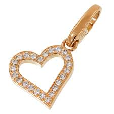 cartier cartier diamond heart necklace charm k18pg box