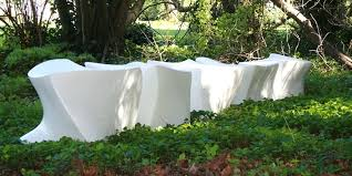 outdoor furniture white. Outdoor Furniture Design Of White Cement Spine L5 Bench By Marie Khouri