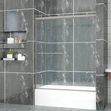 sliding bathtub doors sunny shower semi sliding bathtub door heavy tempered clear glass brushed nickel bathtub sliding bathtub doors