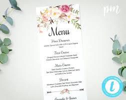 Printable Dinner Menu Template Wedding Menu Template Printable Menu
