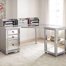 mirrored office furniture. Hayworth Mirrored Corner Desk With Open Shelf \u0026 Hutch Office Furniture D