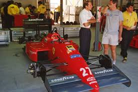 1987 Australian F1 GP Adelaide pit photo. #27 Ferrari F187 driven by  Michele Alboreto into second place.