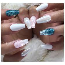 White and teal glitter ombré chrome coffin nails trending nail art ...
