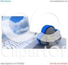Cloud Saver Clipart Of A 3d Cloud Drive Filing Cabinet Icon Resting On A Laptop