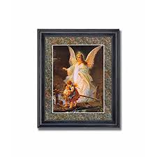 >home interiors wall pictures amazon  guardian angel 3 children bridge religious wall picture framed art print
