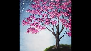 blossoming tree acrylic painting with sponge painted background tutorial you
