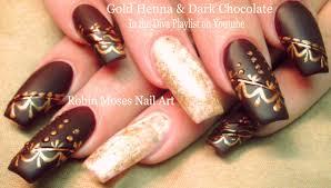 DIY Diva Nails! Fall Henna Long Nail Art Design Tutorial - YouTube