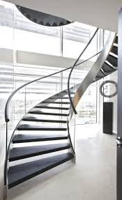 Decorations:Classy Modern Black Spiral Staircase Designs With Glass Wall  And Cream Flooring Idea Aesthetic