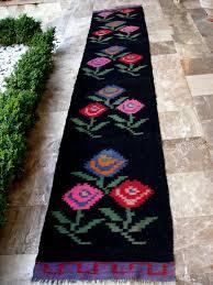 perfect fl runner rug antique kilim rug runner fl black blue fuschia red roses