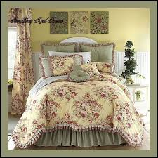 11 king ery yellow fl toile comforter set