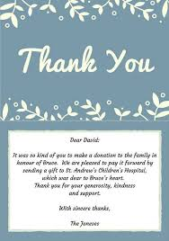 Thank You Note For Money