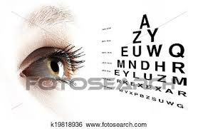 Eye With Test Vision Chart Close Up Stock Photograph