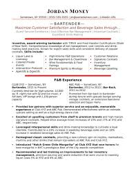 Impressive Bartender Resume Sample That Brings You To A Job How Make