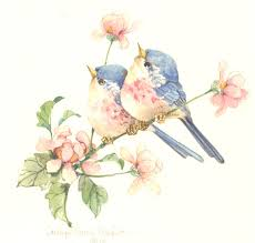 an x original watercolor of two birds and flowers by yn ss wright birds of all types serious whimsical and humorous have always been one of her