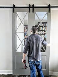 barn door with glass window