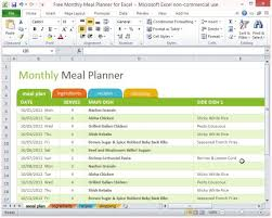 Microsoft Excel Free Templates Free Monthly Meal Planner For Excel