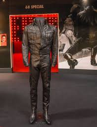 elvis black leather suit has come all the way from graceland