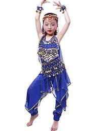 Astage Girls Oriental Belly Dance Sets Costumes All Accessories Dark Blue  S(Fits 3