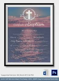 Sample Baptism Certificate Template Magnificent 48 Sample Baptism Certificate Templates Free Sample Example