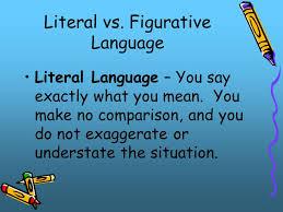 literal language literal vs figurative language literal language you say