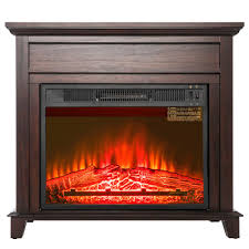 freestanding electric fireplace heater in black with tempered glass with log