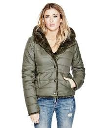 miah reversible puffer jacket guess uk guess for guess leather new