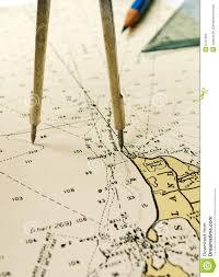 Nautical Chart Dividers Pencil Stock Image Image Of Charts