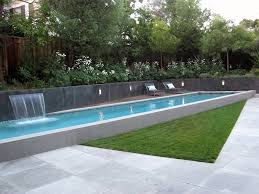 Modern Lap Pool, Raised Lap Pool Modern Pool Shades of Green Landscape  Architecture Sausalito,