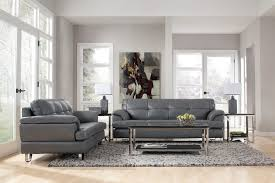 Endearing Gray Leather Living Room Furniture And Genuine Sofa