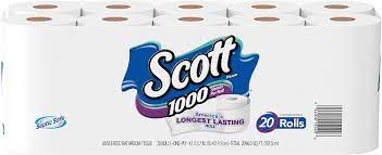 Scott 1000 Sheets Per Roll Toilet Paper Bath Tissue 20 Rolls Health Personal Care Amazon Com