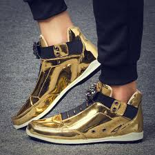 2019 Cool Men High Top Men Gold <b>Glitter Sneakers Bling</b> Zip ...