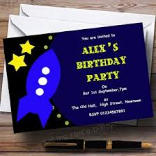 Personalised Birthday Invitations For Kids Childrenss Kids Party Invites Space Rocket Personalised Birthday