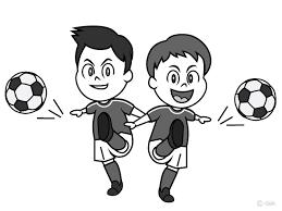 サッカー大好きな少年白黒の無料イラスト素材イラストイメージ