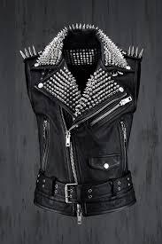custom lux goat leather stud rider vest