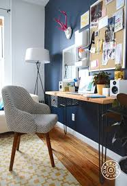 home office wall. Saddle Office Chair From West Elm In A Brooklyn Home Work Space. Love With The Navy Wall W