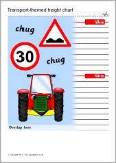 Sparklebox Height Chart Transport Themed Childrens Height Chart Sb4778