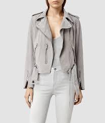 amazing s jacket womens light grey plait balfern biker