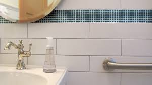 powder bathroom white ceramic subway tile grey grout small blue mosaic border colour dimensions home modernized with style