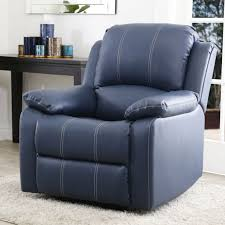 jamison leather recliner navy blue