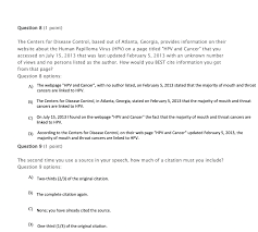 Solved Question 8 1 Point The Centers For Disease Contr