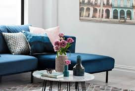 popular interior design styles oz design navy blue sofa with marble coffee table