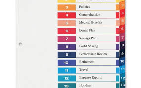 Lovely Avery 15 Tab Table Of Contents Color Template Docs Template
