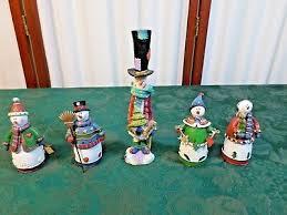 5 Adorable Colorful Snowmen Figurines 10 00 Picclick