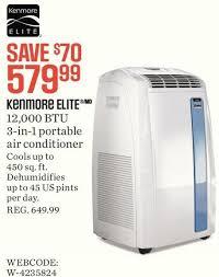 kenmore air conditioner. sears: kenmore elite 12,000 btu 3-in-1 portable air conditioner/dehumidifier/fan - redflagdeals.com conditioner