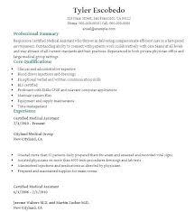 Certified Medical Assistant Resume Sample Medical Assistant Resumes ...