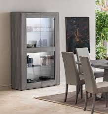 dining room cabinet. Marino Collection, Modern 2-Door Display Cabinet In Grey Saw- Marked Oak Effect Dining Room