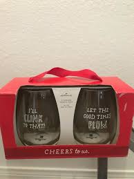 details about hallmark barware set of 2 stemless wine glasses glass lot cheers to us 15 2 oz