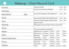 makeup client card client record card treatment consultation card