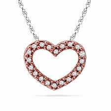 diamond accent heart pendant in 10k rose gold