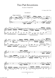 bach sheet music piano bach two part inventions sheet music for piano solo or harpsichord